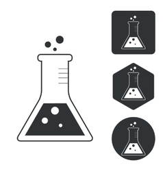 Conical flask icon set monochrome vector