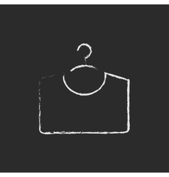 Sweater on hanger icon drawn in chalk vector