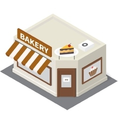 Isometric bakery building icon vector