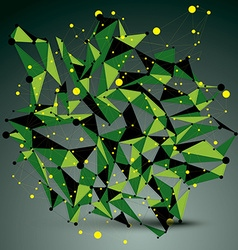 3d abstract technology green mesh shape vector