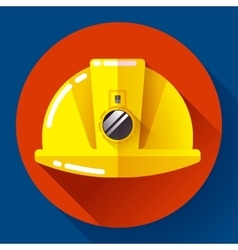 Yellow construction worker helmet with flashlight vector