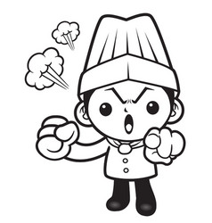 Black and white head chef mascot put somebody out vector