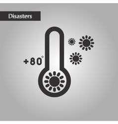 black and white style thermometer hot weather vector image