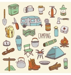 Camping hand drawn colorful icon set vector