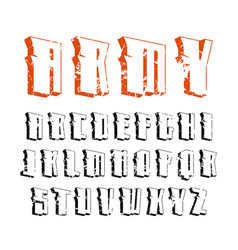 Decorative sanserif font in military style vector