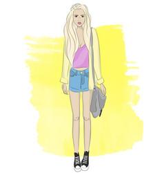 fashionable stylish girl vector image vector image