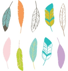 Feathers Design Elements vector image vector image