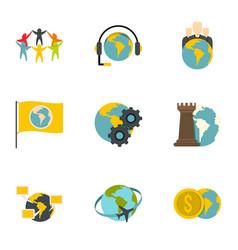 global icon set flat style vector image