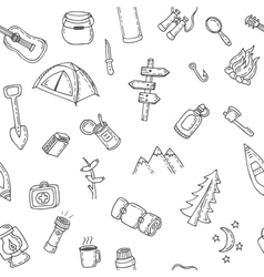 Hand drawn camping and hiking seamless pattern vector