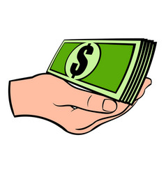 hand with dollar bills icon cartoon vector image