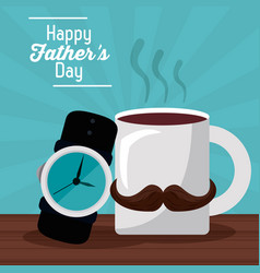 Happy fathers day greeting card coffee mug vector