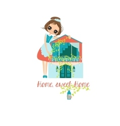 Housewife and house home sweet vector