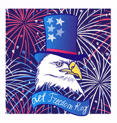 Ink hand drawn background with eagle in tall hat vector