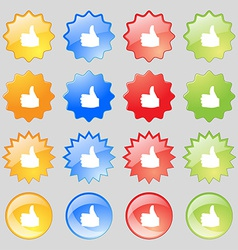 Like thumb up icon sign big set of 16 colorful vector