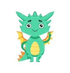 Little anime style baby dragon smiling and showing vector