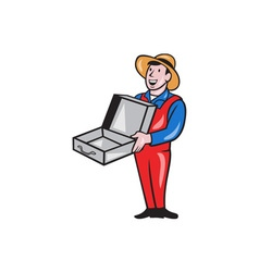 Man Holding Empty Open Suitcase Cartoon vector image vector image