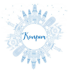 Outline kanpur skyline with blue buildings and vector