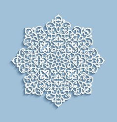Paper lace doily cutout round pattern vector
