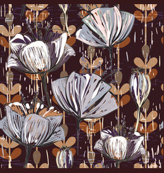 Pattern with decorative flowers vintage vector