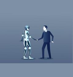 People and robots handshake modern human and vector