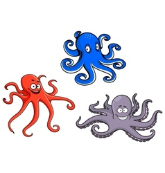 Red blue and purple octopus vector image