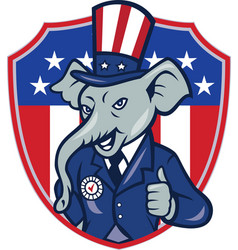 Republican elephant mascot thumbs up usa flag vector