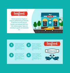 seafood house horizontal flyers vector image vector image