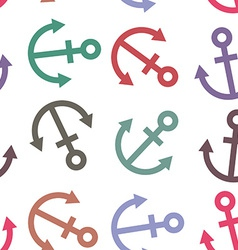 Seamless background Colorful sea anchor on a white vector image