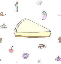 Seamless pattern of cheesecake and topping vector