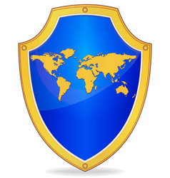 Shield with silhouette of map the world vector
