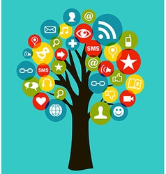 Social media networks business tree vector image