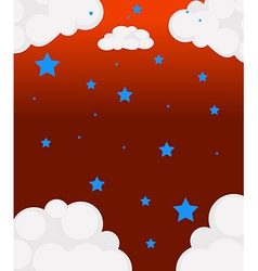 The blue stars and the white clouds vector image