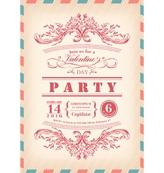 Valentine day card party invitation vector image vector image