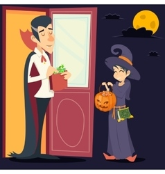 Vintage happy smiling male vampire female witch vector
