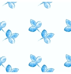 Watercolor blue flower silhouette closeup isolated vector