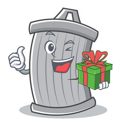 with gift trash character cartoon style vector image vector image
