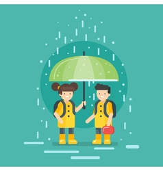 Smiling kids going to school in the rain vector