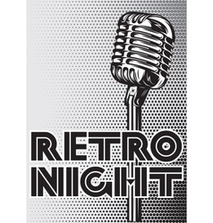 Poster with a vintage microphone on gray vector