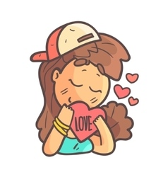 In Love Girl In Cap Choker And Blue Top Hand vector image
