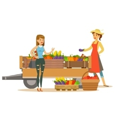 Woman with wooden cart with vegetables and client vector