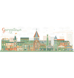 Abstract georgetown skyline with color buildings vector