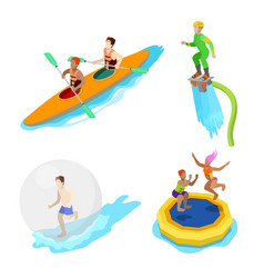 Isometric people on water activity kayaking vector