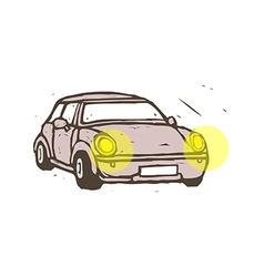 A car with the headlights on vector