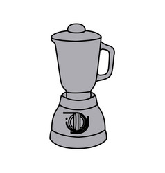 Grayscale silhouette with kitchen blender vector