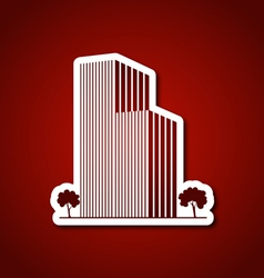 Paper buildings and trees over red vector image