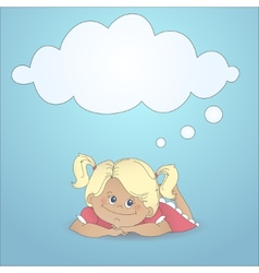 Cartoon girl with a thought bubble vector