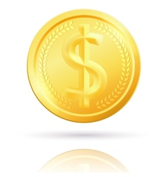 Isolated gold dollar coin vector