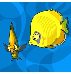 two yellow cartoon tropical fish vector image