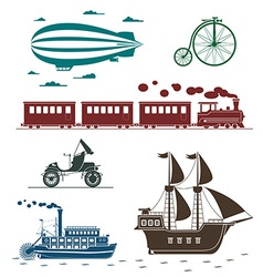 icons of vintage means of transportation vector image