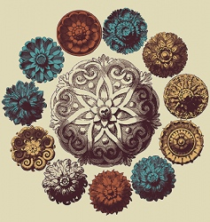 Baroque design elements vector